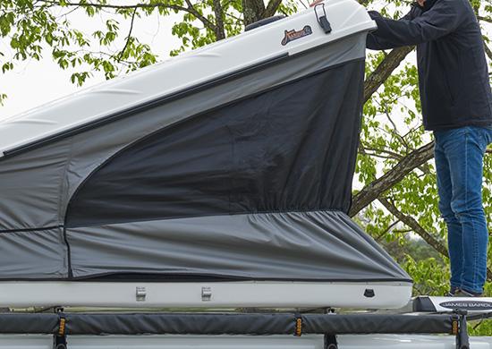 ギャザー付のテント地で収納作業のストレスを軽減
